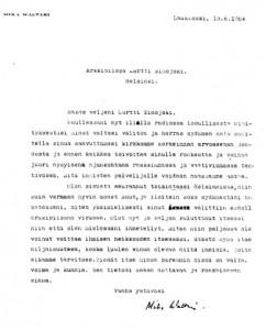 Mika Waltarin kirje Martti Simojoelle