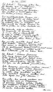 Olga Erika Lavoniuksen os. Simelius kirjoittama runo veljensä Aukusti Simeliuksen 50-vuotispäiville